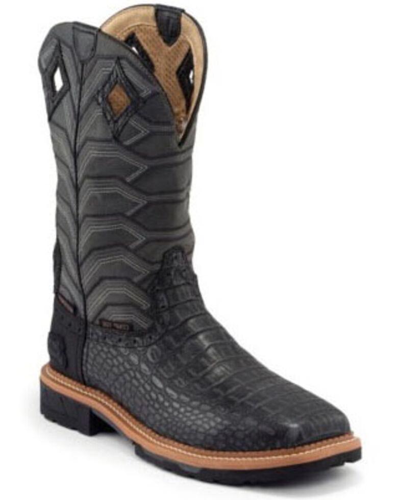Justin Men's Derrickman Croc Print Western Work Boots - Composite Toe, Black, hi-res
