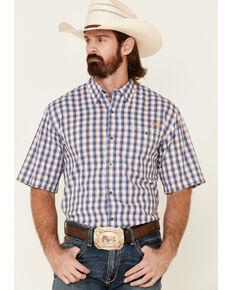Ariat Men's Navy Check Plaid Vent Tek Short Sleeve Button-Down Western Shirt , Multi, hi-res
