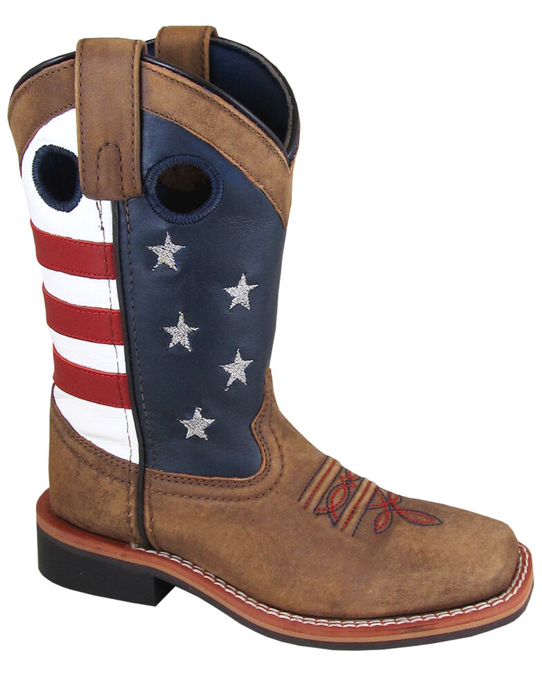 Smoky Mountain Boys' Stars and Stripes Western Boots - Square Toe, Distressed Brown, hi-res