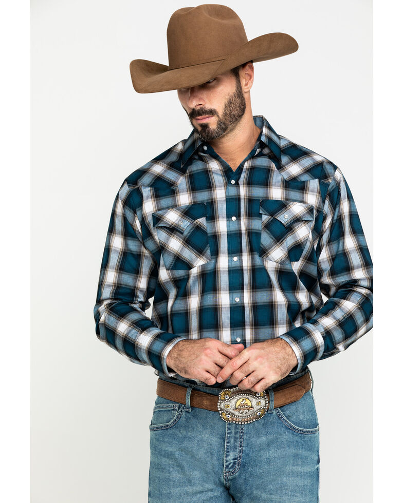 Ely Cattleman Men's Assorted Multi Dobby Large Plaid Long Sleeve Western Shirt - Tall , Multi, hi-res