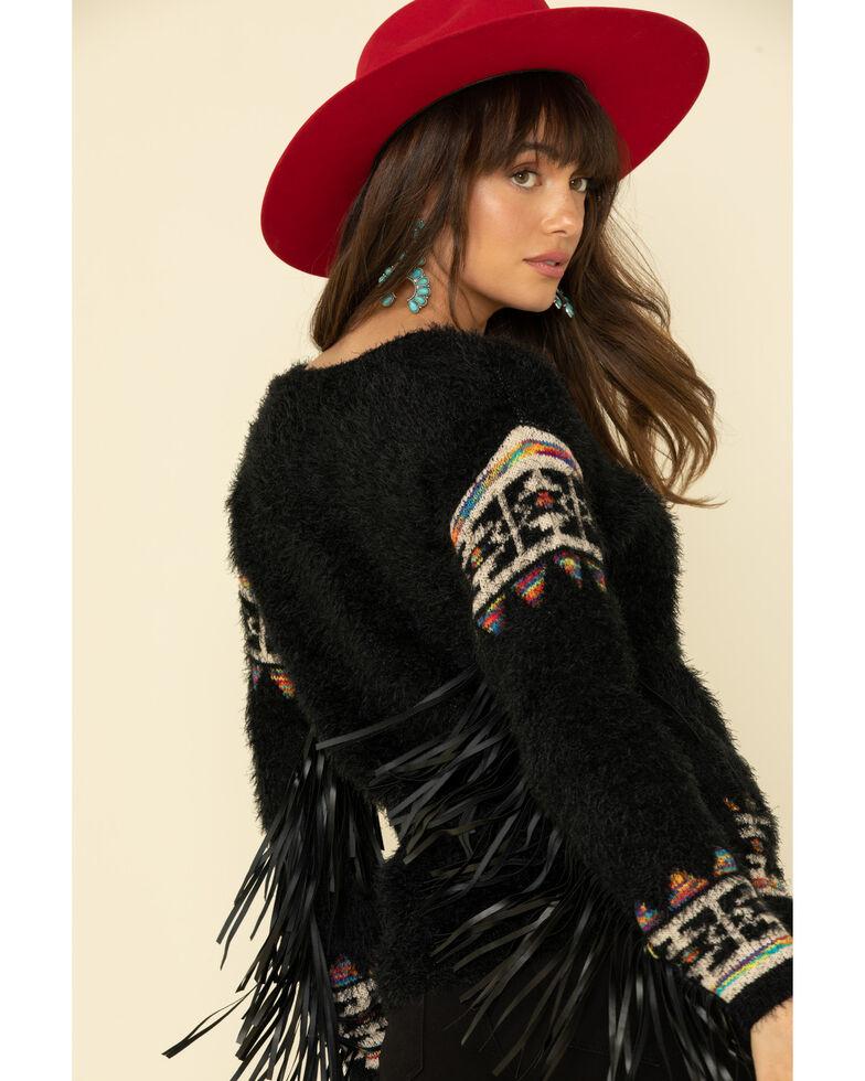 Cotton & Rye Outfitters Women's Eyelash Aztec Fringe Sweater, Black, hi-res