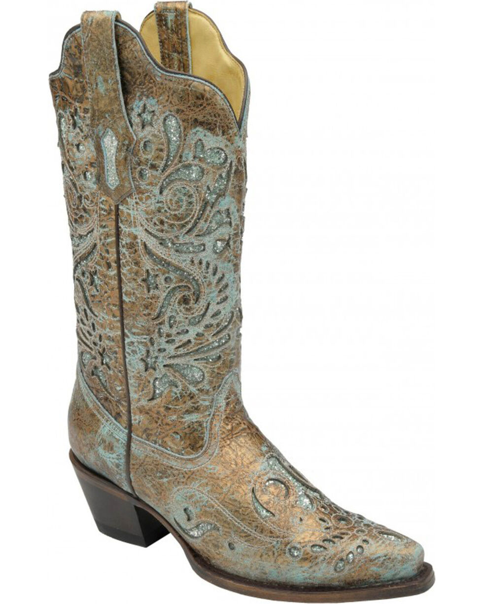 Corral Women's Turquoise Glitter Inlay Cowgirl Boots - Snip Toe, Brown, hi-res