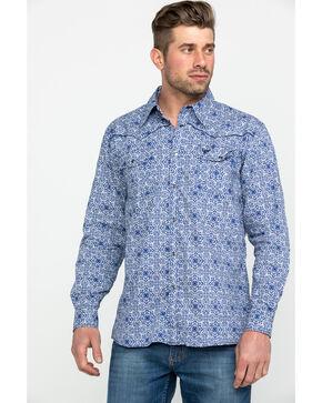 Cowboy Hardware Men's Navy Traditional Plaid Long Sleeve Western Shirt , Navy, hi-res