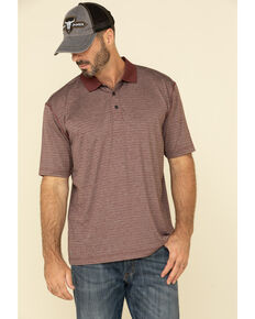 Cody James Core Men's Burgundy Tonal Striped Short Sleeve Polo Shirt , Burgundy, hi-res