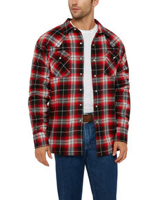 Ely Cattleman Men's Sherpa Lined Brawny Plaid Western Flannel Shirt Jacket, Red, hi-res