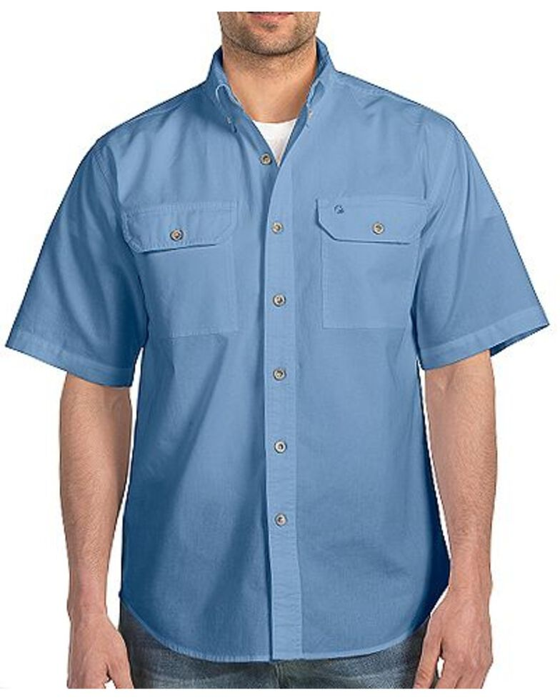 Carhartt Men's Fort Solid Short Sleeve Work Shirt - Big & Tall, Chambray, hi-res