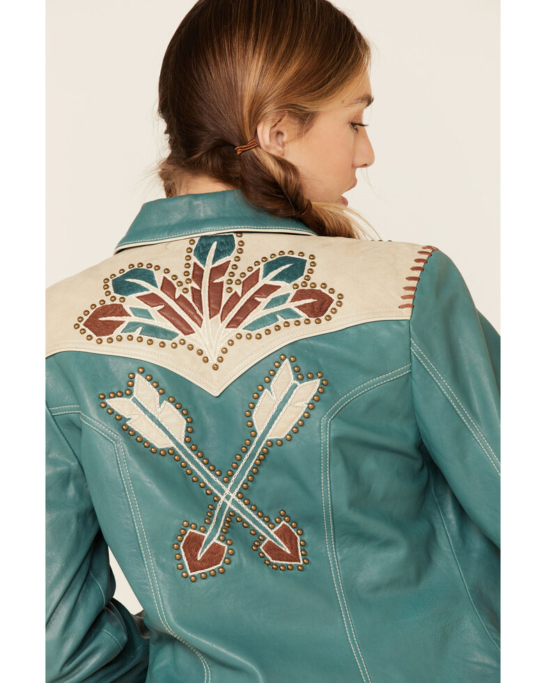 Double D Ranch Women's Let's Smoke The Peace Jacket , Green, hi-res
