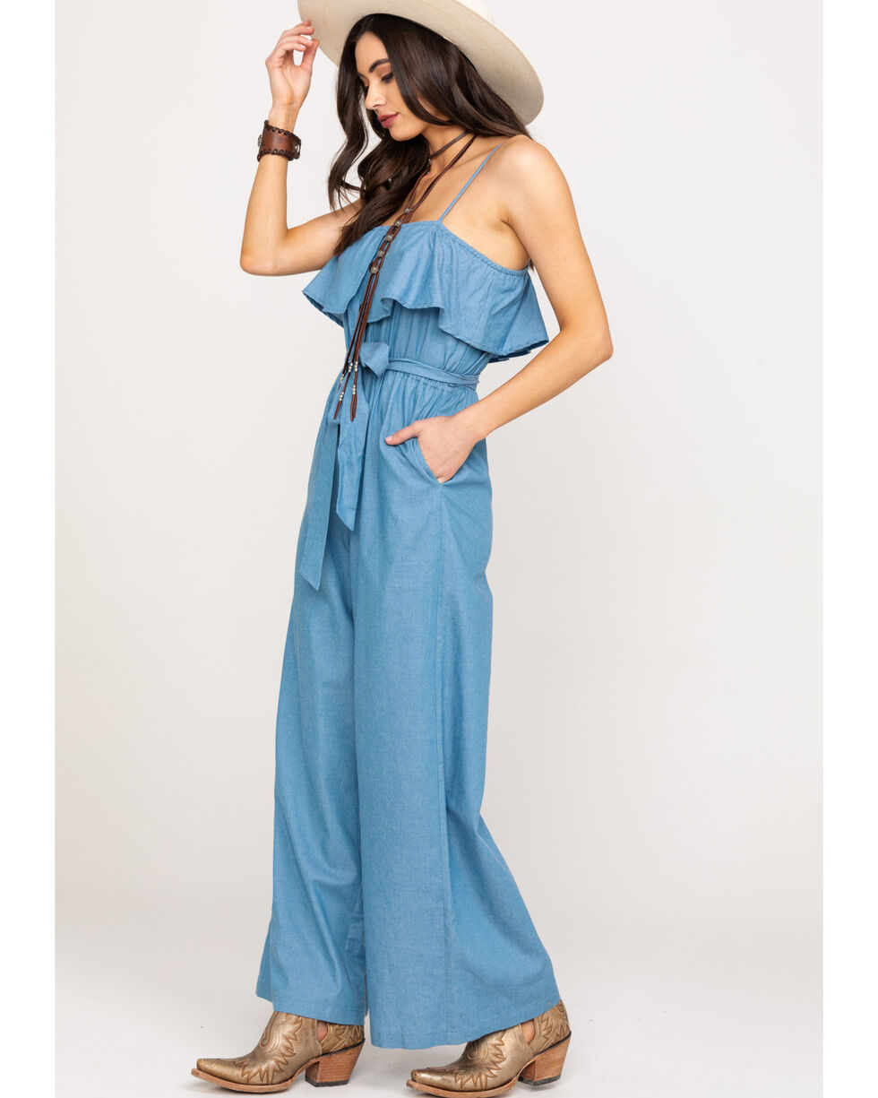 Flying Tomato Women's Chambray Wide Leg Jumpsuit, Blue, hi-res