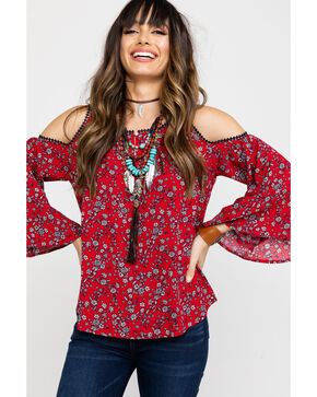 Nikki Erin Women's Americana Floral Cold Shoulder Top , Red, hi-res