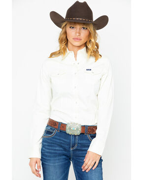 Wrangler Women's Ivory Snap Long Sleeve Western Shirt, Ivory, hi-res