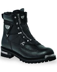 Milwaukee Motorcycle Clothing Co. Men's Throttle Moto Boots - Round Toe, Black, hi-res