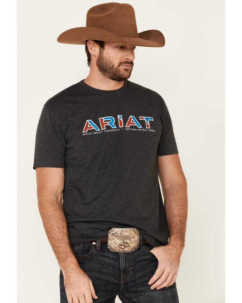Ariat Men's Charcoal Shadow 93 Logo Graphic T-Shirt , Charcoal, hi-res