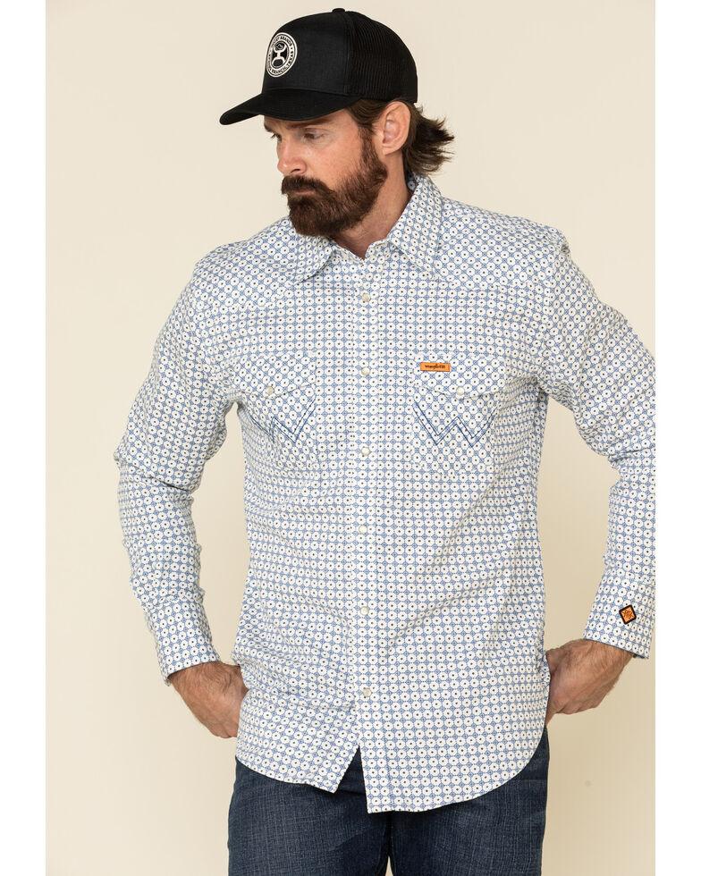 Wrangler FR Men's White Small Geo Print Long Sleeve Work Shirt , White, hi-res