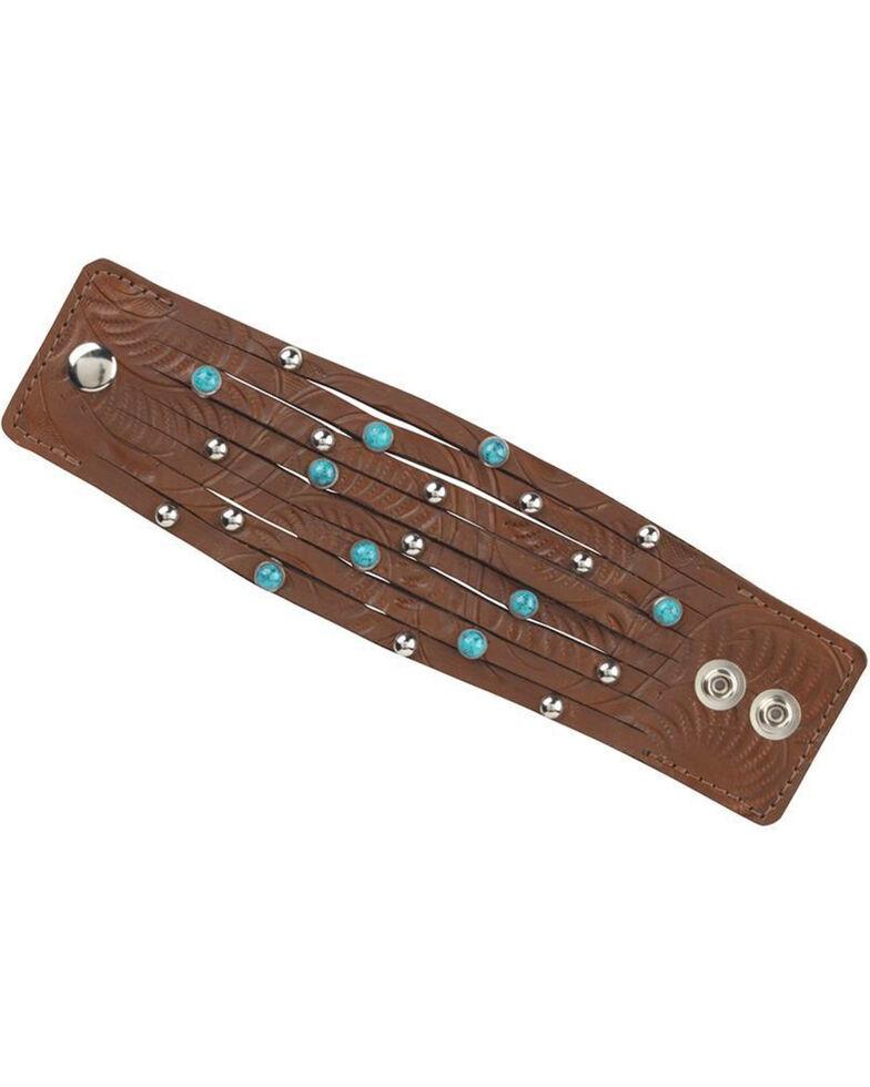 American West Ladies' Studded Wide Cuff Bracelet, Brown, hi-res