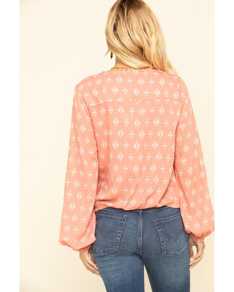 Wrangler Women's Peach Tile Print Surplice Long Sleeve Top, Peach, hi-res