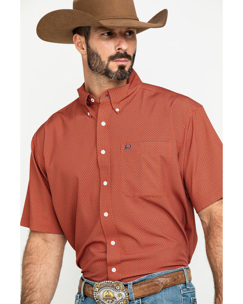 Cinch Men's Arena Fit Red Geo Print Short Sleeve Western Shirt , Red, hi-res