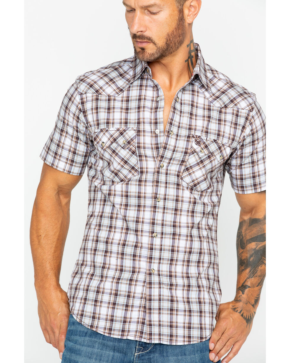 Wrangler Retro Men's Plaid Short Sleeve Western Shirt , Tan, hi-res