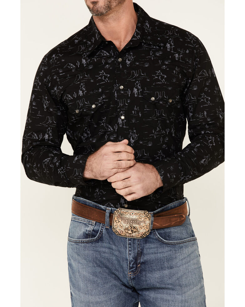 Dale Brisby Men's Black Southwestern Scene Print Long Sleeve Snap Western Shirt , Black, hi-res