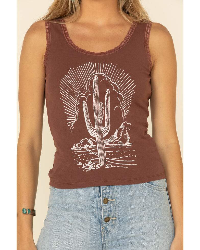 Bandit Women's Brown Cactus Graphic Lace Trim Tank Top, Brown, hi-res