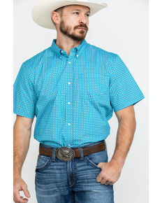 Cody James Core Men's Diamond Field Geo Print Short Sleeve Western Shirt - Tall , Turquoise, hi-res