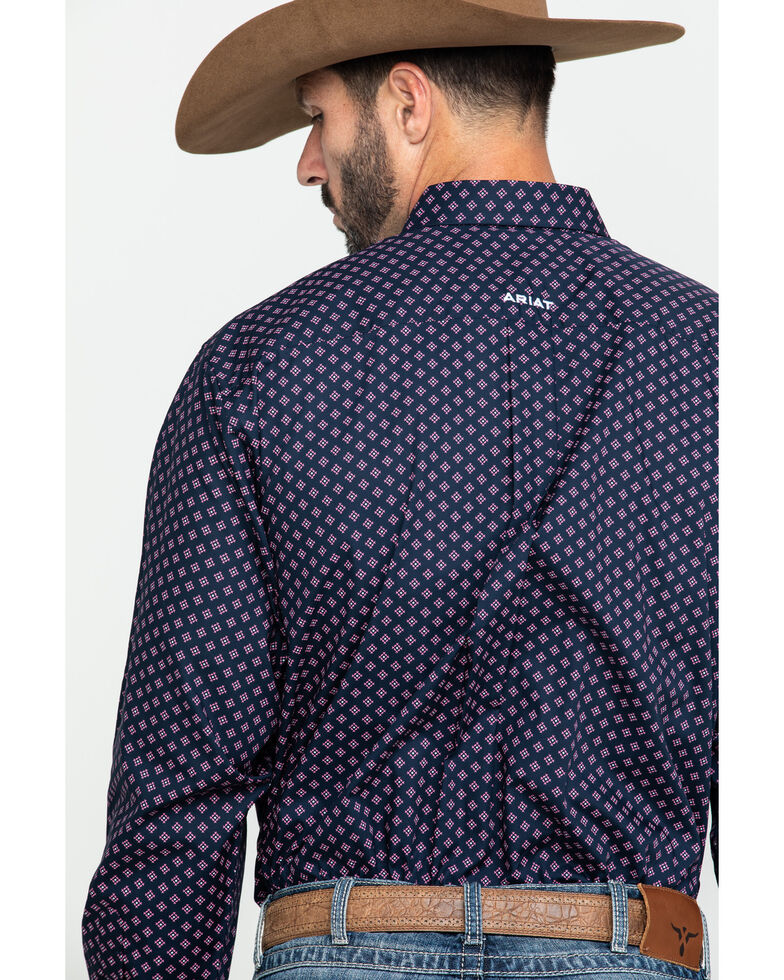 Ariat Men's Wrinkle Free Indham Small Geo Print Long Sleeve Western Shirt - Big , Navy, hi-res