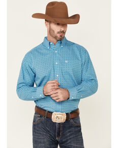 Ariat Men's Wrinkle Free Gavin Geo Print Long Sleeve Button-Down Western Shirt - Tall , Turquoise, hi-res