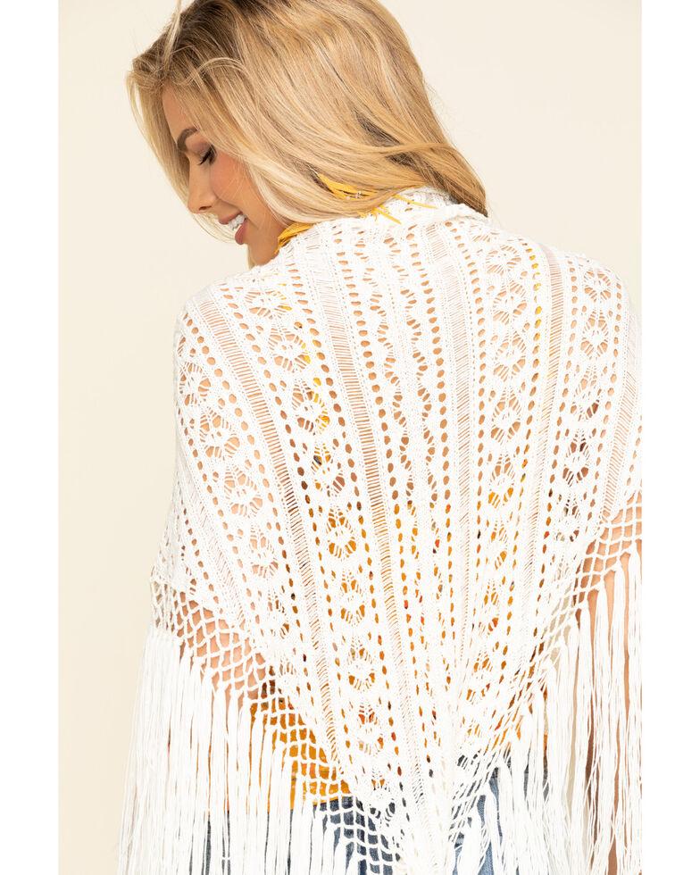 Idyllwind Women's Bohemian Crochet Fringe Shawl, Natural, hi-res