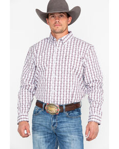 Cody James Core Men's Side Step Plaid Long Sleeve Western Shirt, Brown, hi-res