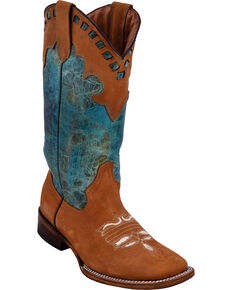 Ferrini Women's Old West Honey Cowgirl Boots - Square Toe, Honey, hi-res