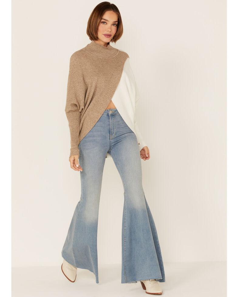 Elan Women's Colorblock Sweater, Beige/khaki, hi-res