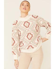 Very J Women's Cream Argyle Aztec Print Sweater , Cream, hi-res
