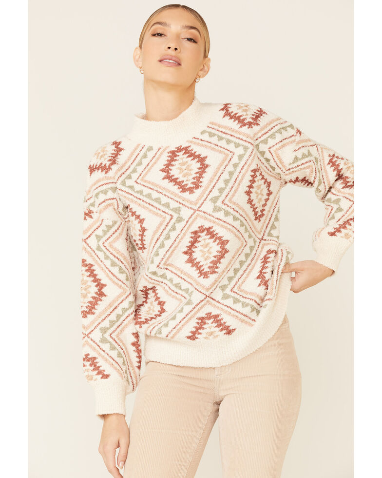 Very J Women's Cream Argyle Aztec Print Sweater , Cream, hi-res