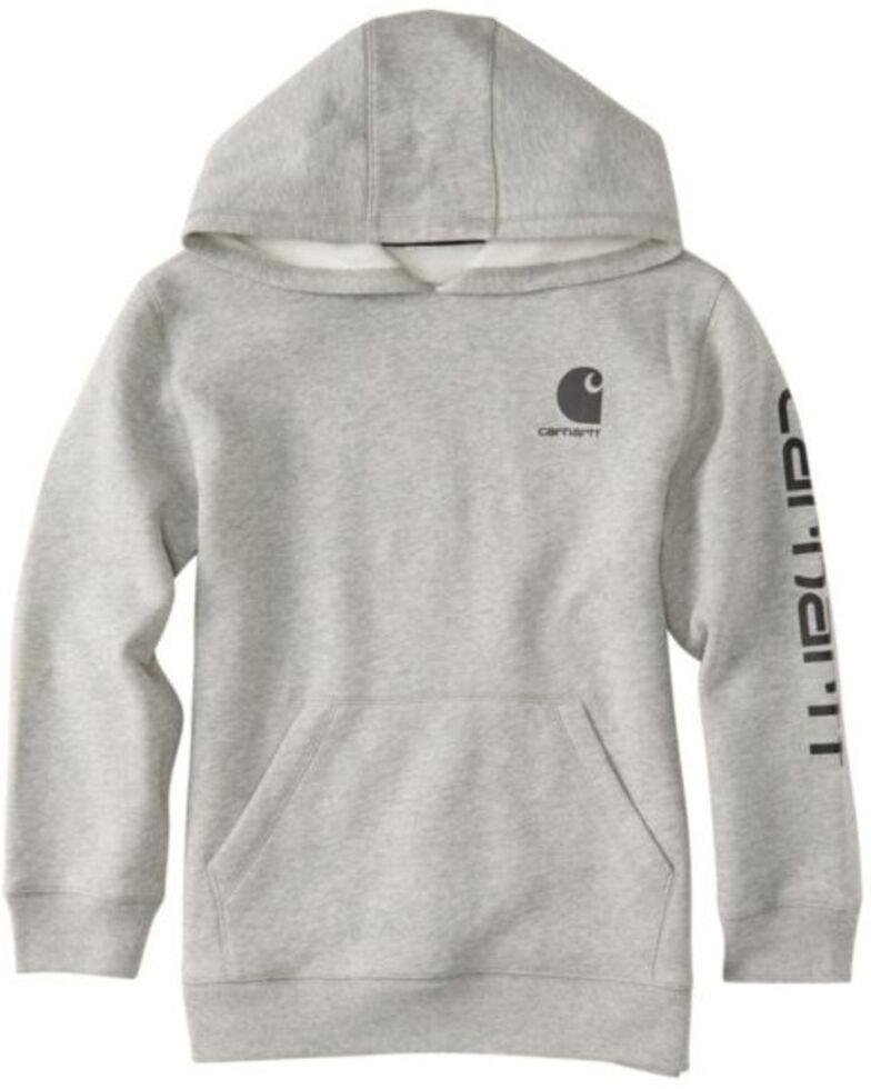 Carhartt Boys' Heather Grey Logo Hooded Sweatshirt , Grey, hi-res