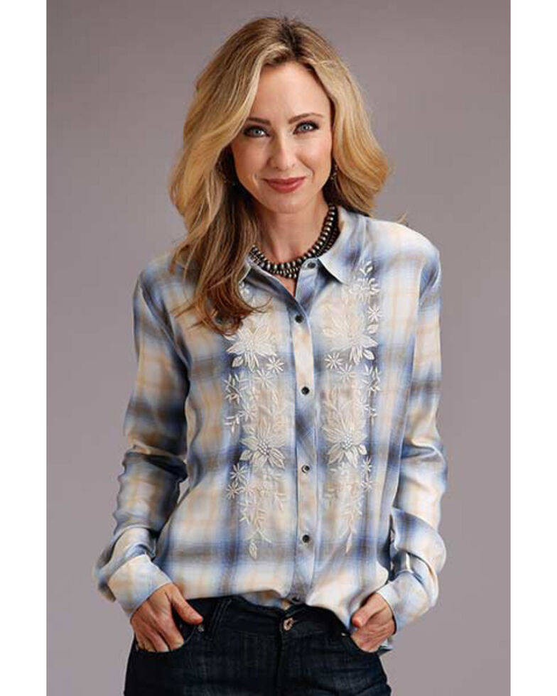 Stetson Women's Blue Plaid Embroidered Long Sleeve Western Shirt, Blue, hi-res