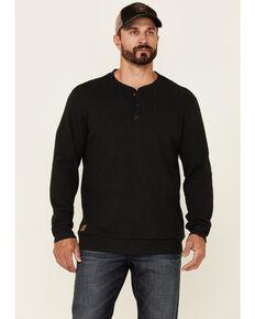 Moonshine Spirit Men's Solid Black Snow Creek Long Sleeve Henley T-Shirt , Black, hi-res