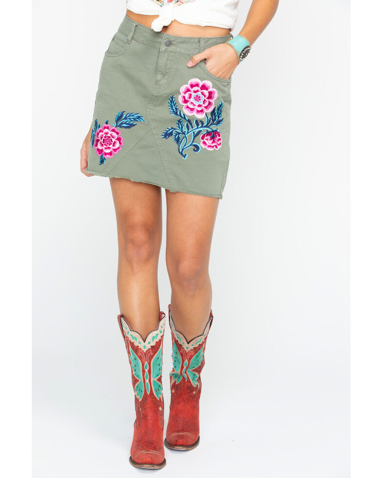 Stetson Women's Green Floral Embroidered Raw Edge Skirt , Green, hi-res