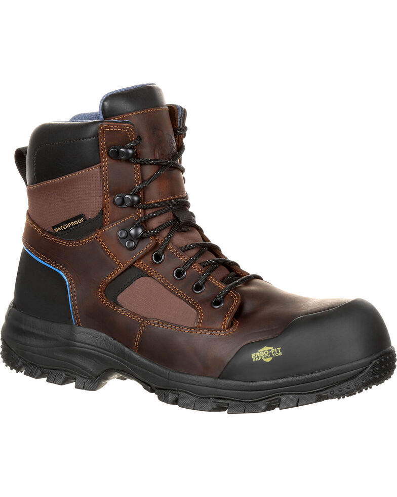 "Georgia Men's Blue Collar 6"" Waterproof Work Boots - Composite Toe, Brown, hi-res"