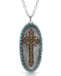 Montana Silversmiths Women's Tropical Cross Attitude Necklace, Silver, hi-res