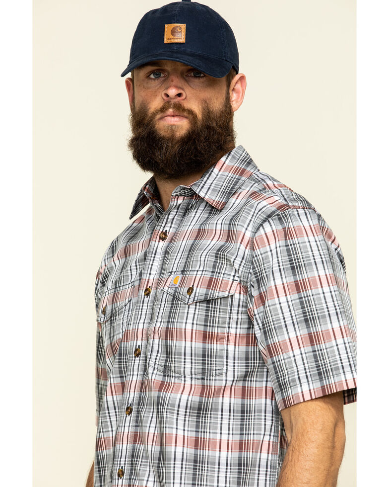Carhartt Men's Hot Coral Plaid M-Force Relaxed Short Sleeve Work Shirt , Coral, hi-res