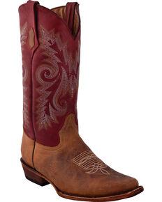 Ferrini Men's Roughrider Western Boots - Wide Square Toe, Distressed Brown, hi-res