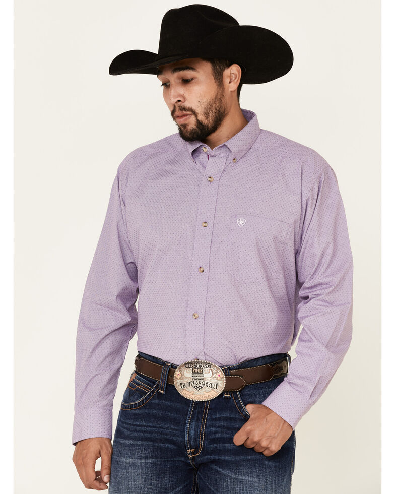 Ariat Men's Hugh Dobby Solid Long Sleeve Western Shirt , Purple, hi-res