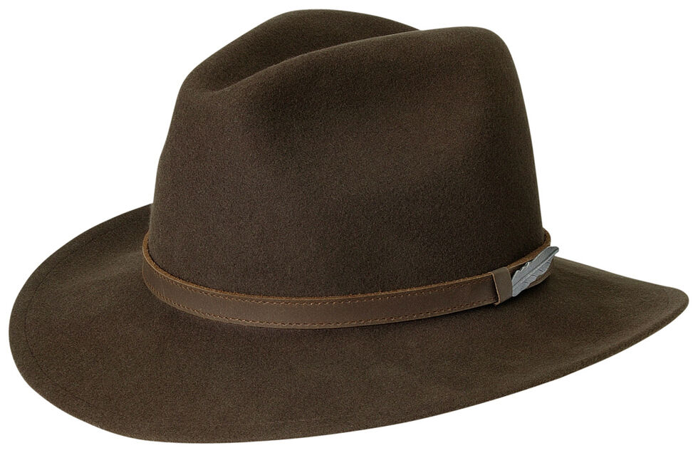 Black Creek Men's Brown Crushable Wool Hat, Brown, hi-res