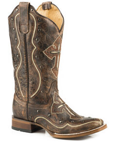 Roper Women's Pure Cross & Studs Cowgirl Boots - Square Toe , Brown, hi-res