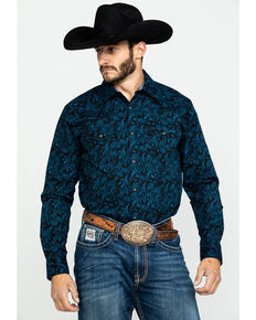 Cody James Men's Dandelion Paisley Print Long Sleeve Western Shirt , Black, hi-res