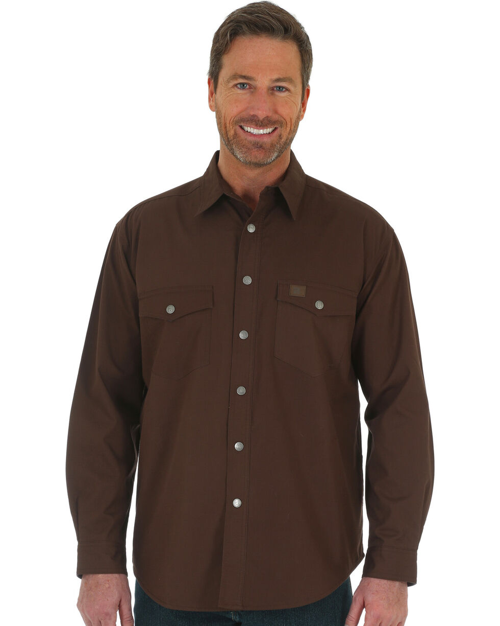 Wrangler Men's RIGGS Workwear Flannel Lined Ripstop Shirt Jacket - Big & Tall , Chocolate, hi-res