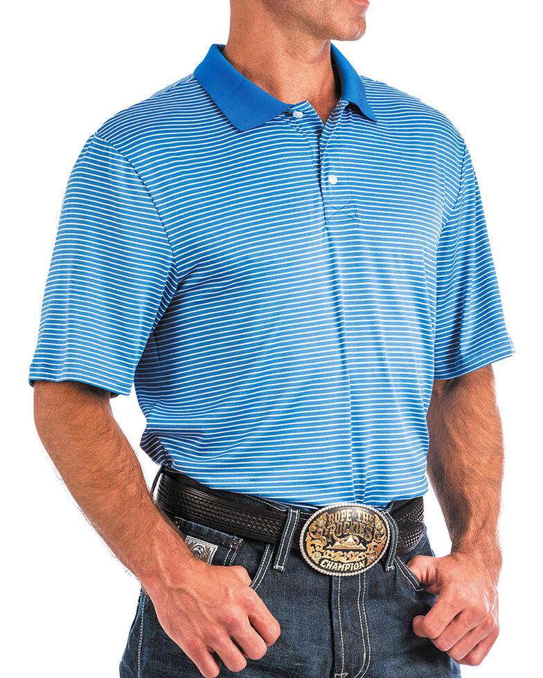 Cinch Men's ArenaFlex Blue Striped Athletic Short Sleeve Polo Shirt , Blue, hi-res