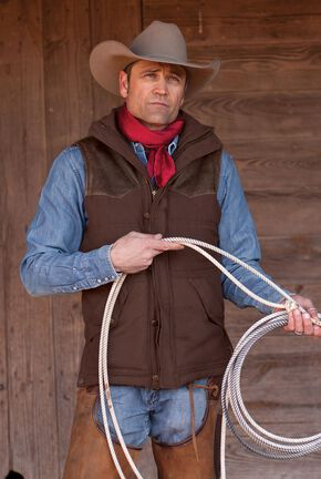 STS Ranchwear Men's Lucas Down Style Brown Vest, Brown, hi-res