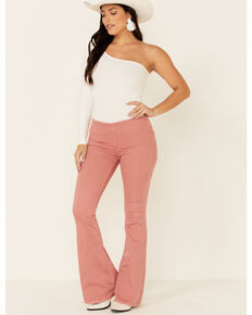 Free People Women's Penny Pull On Flare Leg Jeans, Rose, hi-res