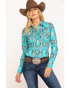 Rock & Roll Cowgirl Women's Mint Aztec Snap Long Sleeve Western Shirt, Teal, hi-res