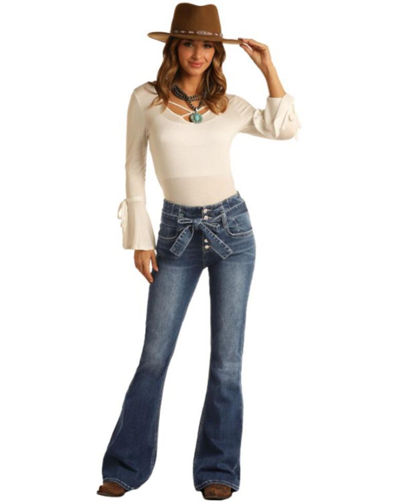Panhandle Women's Self Belt Flare Leg Jeans, Blue, hi-res